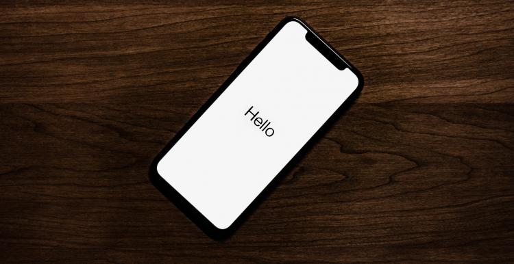 phone with hello message on the screen