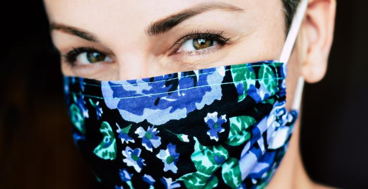 woman wearing face covering