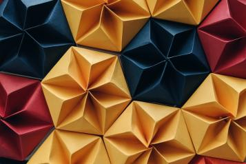 geometric pattern of coloured paper