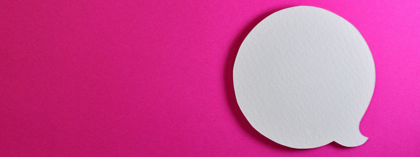 speech bubble with pink background